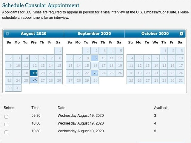 Bảng đặt lịch hẹn phỏng vấn xin Visa du học Mỹ