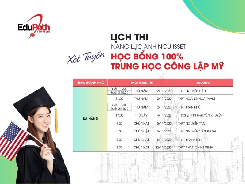 Lịch thi tuyển sinh học bổng Trung học EduPath tại tp Đà Nẵng