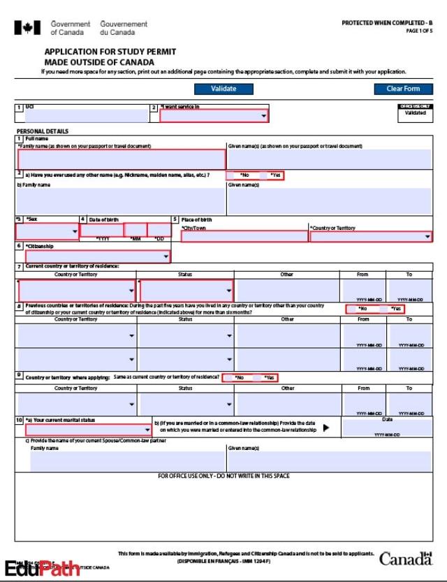 Mẫu đơn IMM1294 dành cho du học sinh Canada