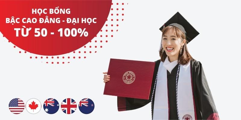 Học bổng 50%-100% tại 140 trường đối tác